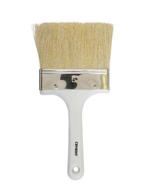 Cement brush with white, shaped handle and a wide head with golden brown mix of tough, rugged bristles