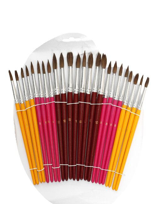 24 artist's brushes in different colours, different sizes and with a variety of thin and thick tips