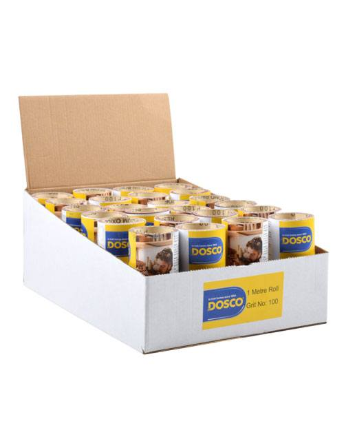 A cardboard box filled with small rolls of aluminium oxide sandpaper