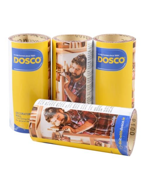 4 small 1 metre rolls of aluminium oxide sandpaper in Dosco blue & yellow packaging