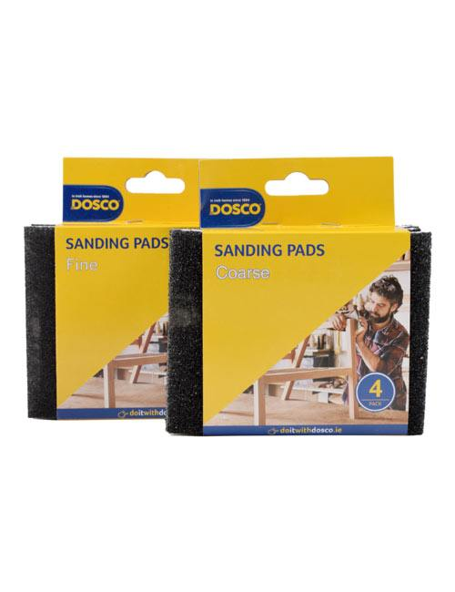 2 packs of black sanding pads in blue & yellow Dosco packaging