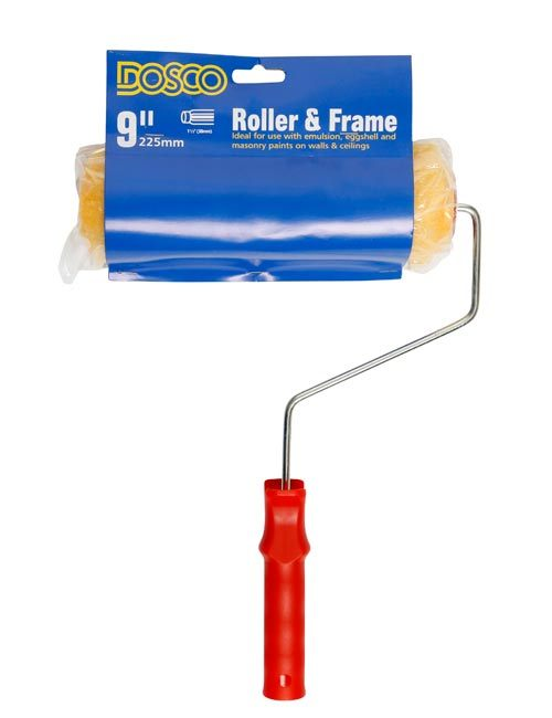 """A red-handled 9"""" roller frame with orange-yellow simulated wool roller sleeve wrapped in a blue Dosco card"""