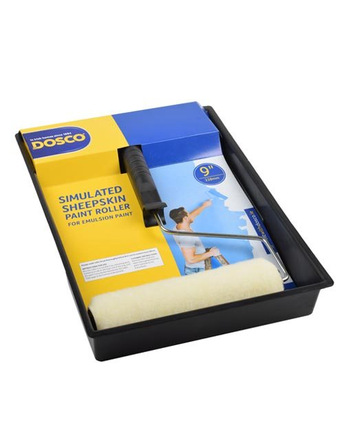 A paint roller frame with white simulated sheepskin roller sleeve in paint tray in Dosco blue & yellow packaging