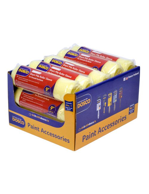 15 paint roller sleeves with red Dosco labels in a blue & yellow Dosco-branded cardboard display box