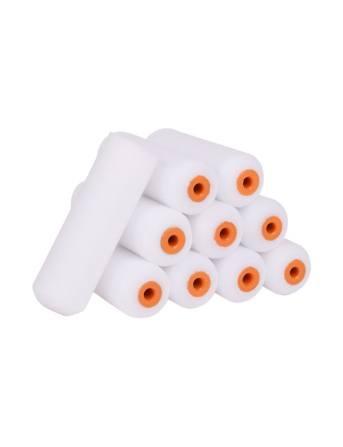 """10 white 4"""" simulated foam roller sleeves - 9 are arranged in a pile, with one resting upright on the side"""