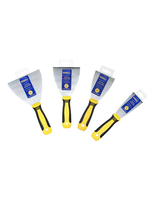 4 steel-bladed stiff paint scrapers of different sizes with black & yellow soft grip handles