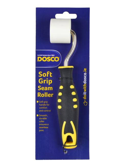 A white seam roller with metal frame and black and yellow soft grip handle on Dosco blue card