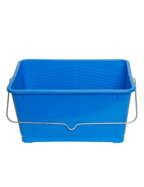 A rectangular paint bucket with metal handle