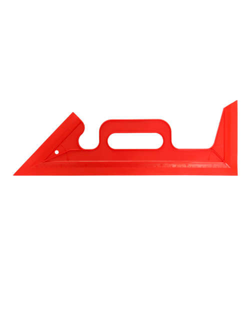 A red plastic paint guard, a ruler-like object that acts as a replacement for masking tape