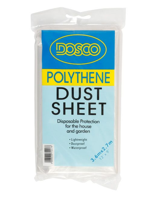 A polythene dustsheet folded and wrapped in clear plastic packaging displaying the Dosco blue & yellow logo