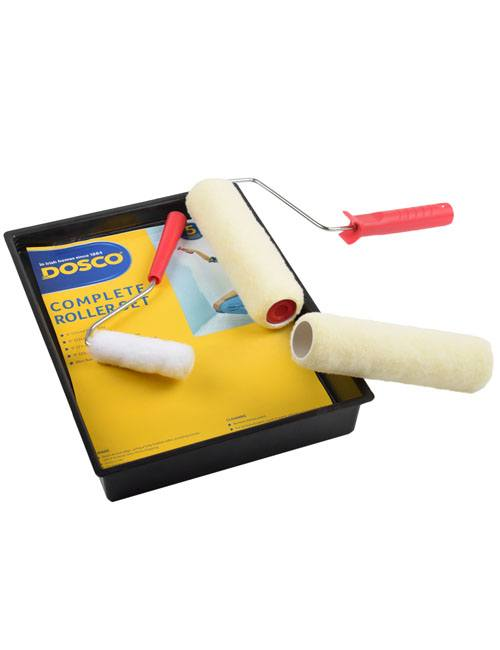 """A paint roller tray, 9"""" roller, extra roller sleeve & mini-roller in Dosco blue & yellow packaging"""