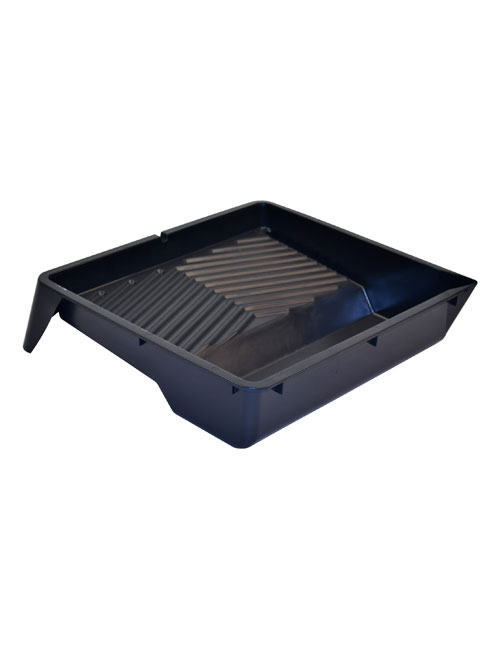 A black plastic painting tray with ridged surface