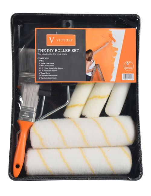 """A 9"""" and a 4"""" roller frame with multiple roller sleeves and paint brushes in black roller tray in orange Victory packaging"""