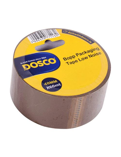 A roll of brown bopp adhesive packaging tape in Dosco blue & yellow packaging