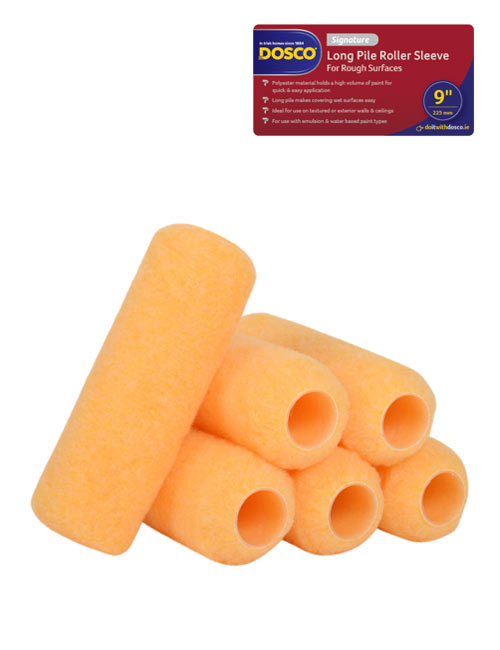 6 orange polyester Dosco Signature Long Pile Roller Sleeves with red & blue icon identifying the Dosco range