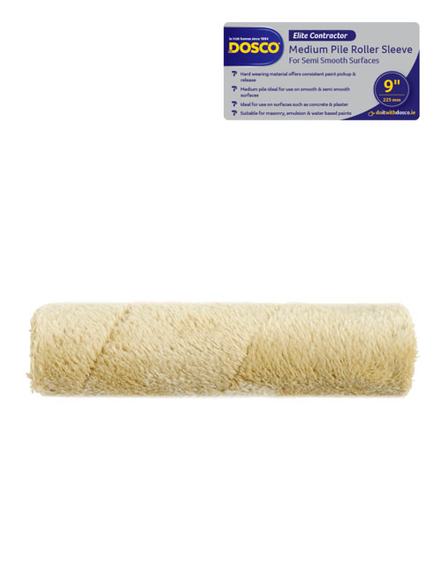 A green Dosco Medium Pile Masonry Roller Sleeve with silver & blue icon identifying the range