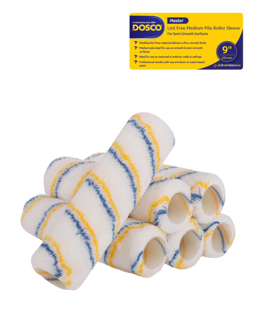 6 white Dosco Master Lint-Free medium pile paint roller sleeves with blue & yellow stripes