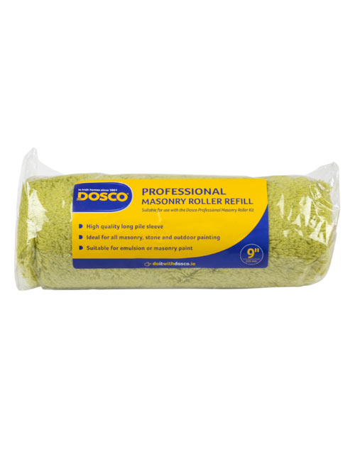 A green long pile masonry roller sleeve labelled in the Dosco blue and yellow colours