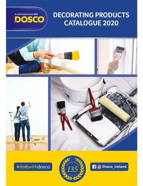 Dosco decorating products brochure front page, depicting paint brushes and other paint products in use