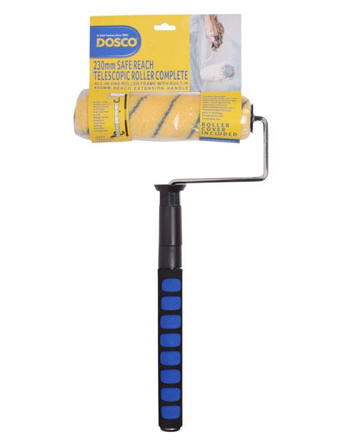 "A Dosco complete 9"" roller with telescopic extendable handle, soft foam grip, and 9"" emulsion roller sleeve"