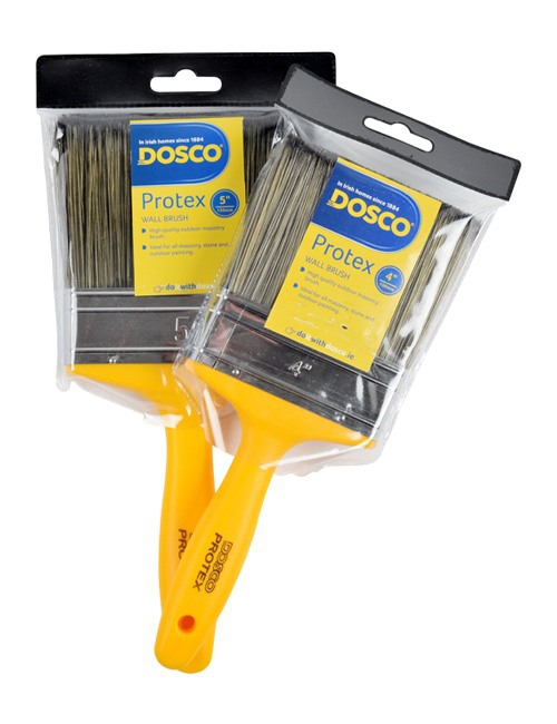 Yellow Dosco Protex Masonry Paintbrush with golden brown bristles in clear plastic packaging