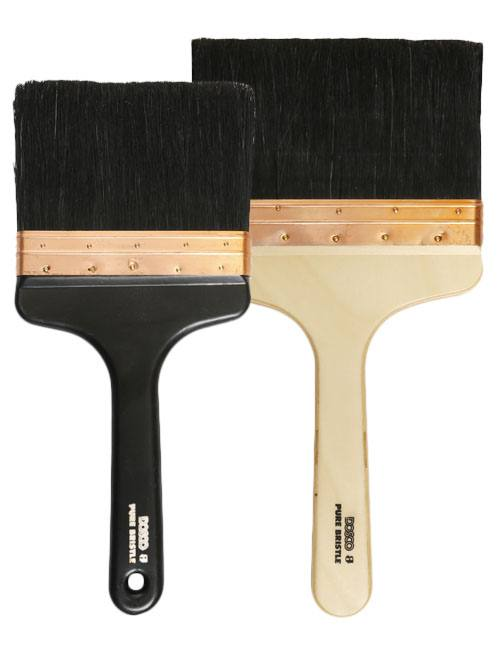 "Black handled 6"" and wooden handled 7"" Dosco Kalsomine Brushes with long, black natural bristles for outdoor use"