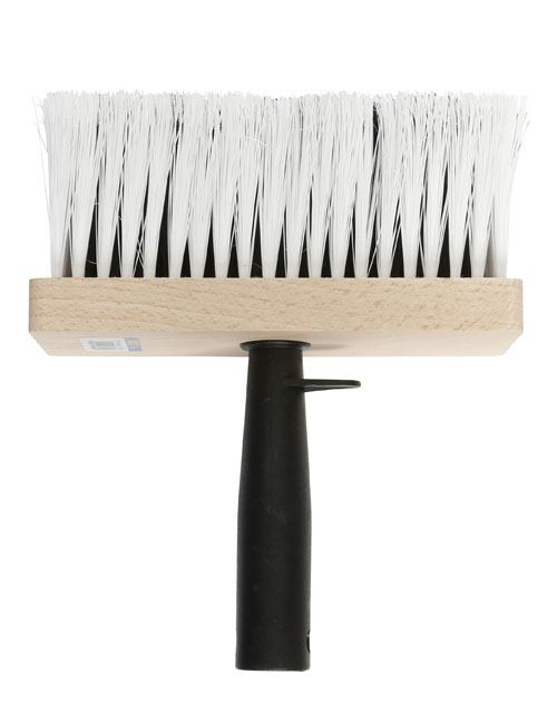 "Emulsion brush with wide 6"" head and extra long, rugged embedded white bristles"