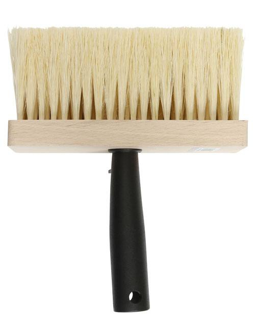 "Emulsion brush with wide 6"" head and extra long, rugged embedded yellow bristles"
