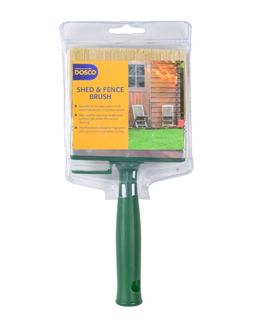The Dosco Shed & Fence Brush with green plastic handle. The packaging depicts a wooden shed & garden furniture.