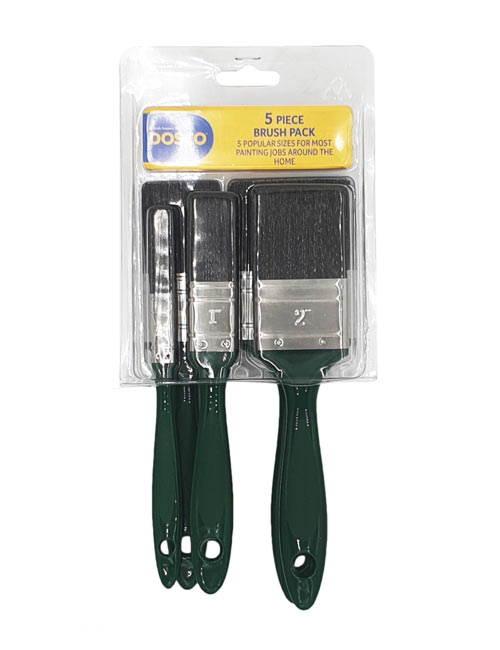 The Dosco 5 Pack Standard Paint Brush Set: different sizes with plastic green handles and black bristles