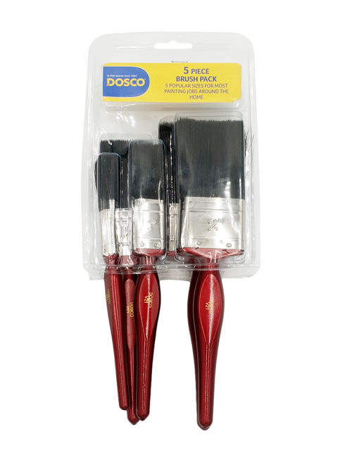 5 red Dosco V21 paintbrushes of various sizes with black bristles in Dosco blue & yellow packaging
