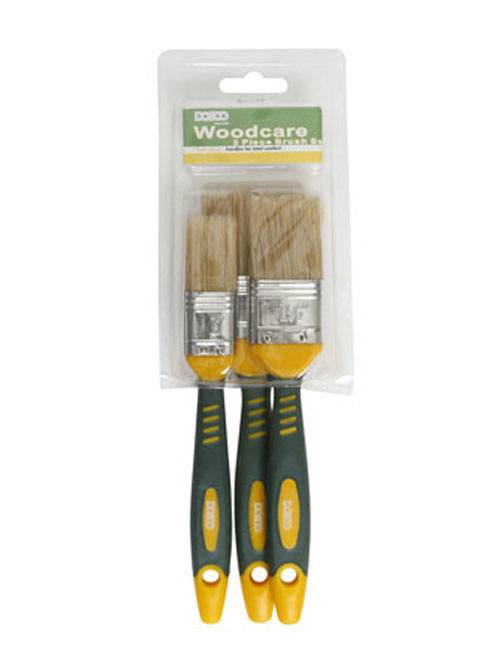 Plastic pack of 3 woodcare brushes with comfortable soft grip handles and white bristles