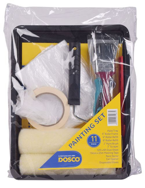 A painting set with paint roller tray, paint roller, paint brush and a variety of painting accessories in a clear package.