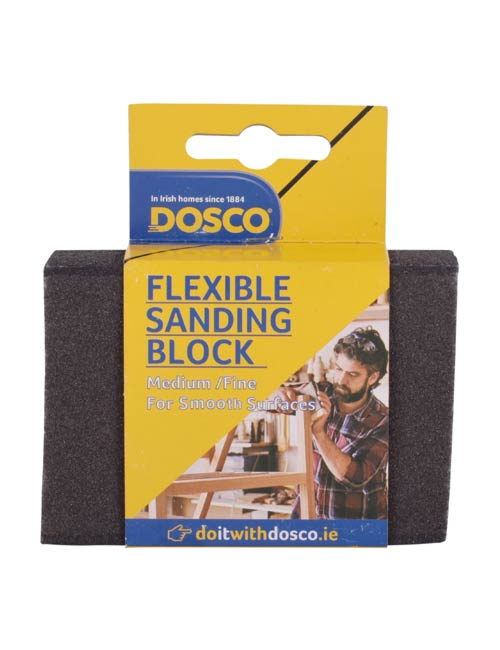 A Black flexible sanding block in Dosco blue & yellow card packaging