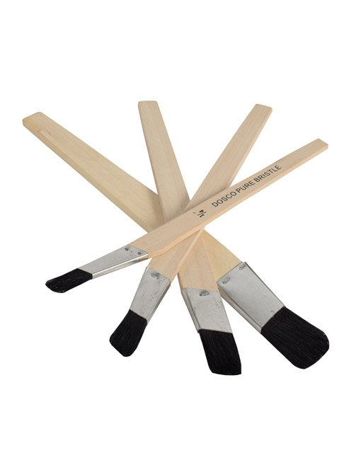 4 lining fitch paintbrushes with timber handles, metal ferrules and black bristles in a pile
