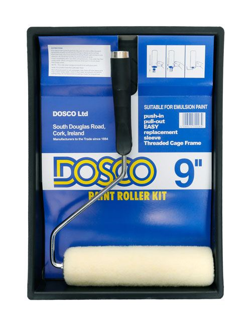 "A 9"" paint roller with white simulated sheepskin roller sleeve on black paint tray in Dosco blue packaging"
