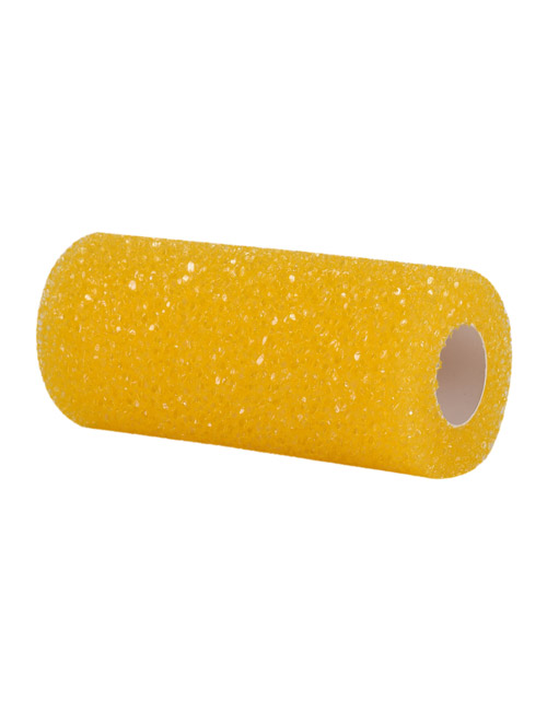 A yellow textured high-density foam roller sleeve for painting a stippling pattern