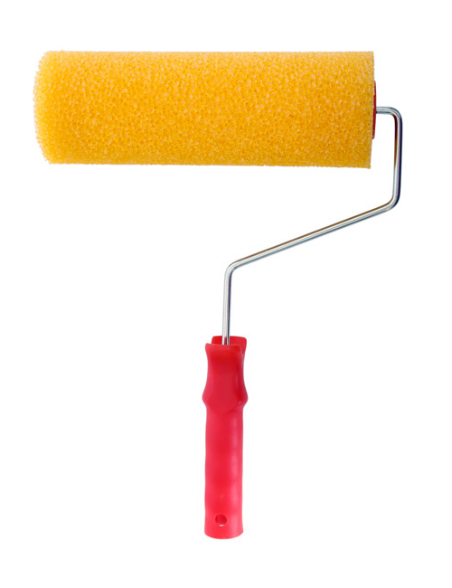 A yellow high-density textured stippling roller sleeve on a roller frame with a red plastic handle