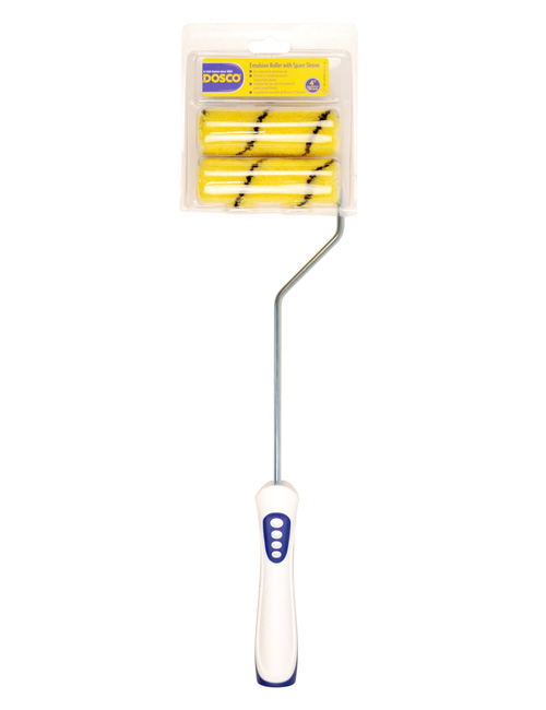 "A complete 4"" paint roller with white and blue handle and two yellow, black-streaked emulsion roller sleeves"