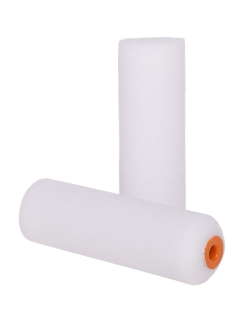 "2 white foam 4"" glosser mini roller sleeves - one stands upright, the other lies beside it"