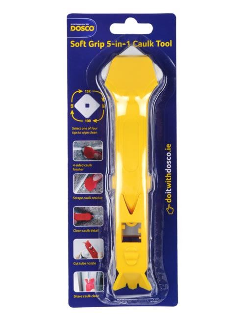 A plastic yellow caulk tool with adjustable white plastic head in Dosco blue card packaging