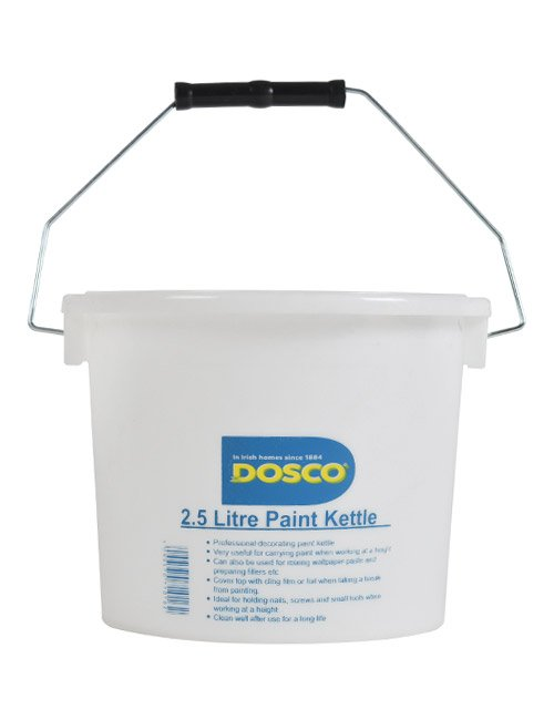 A white bucket with metal handle with black plastic grip