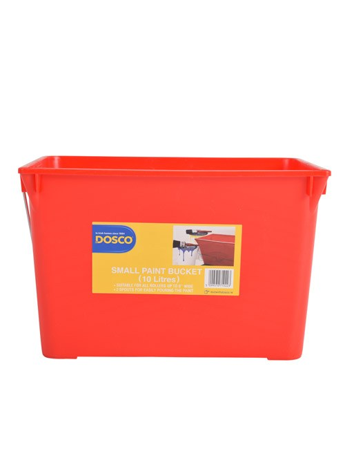 A red rectangular paint bucket with metal handle and an orange Dosco label on the front