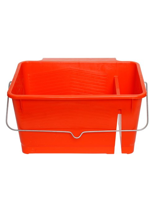A red plastic paint bucket with a plastic divider on the right hand side and metal handle