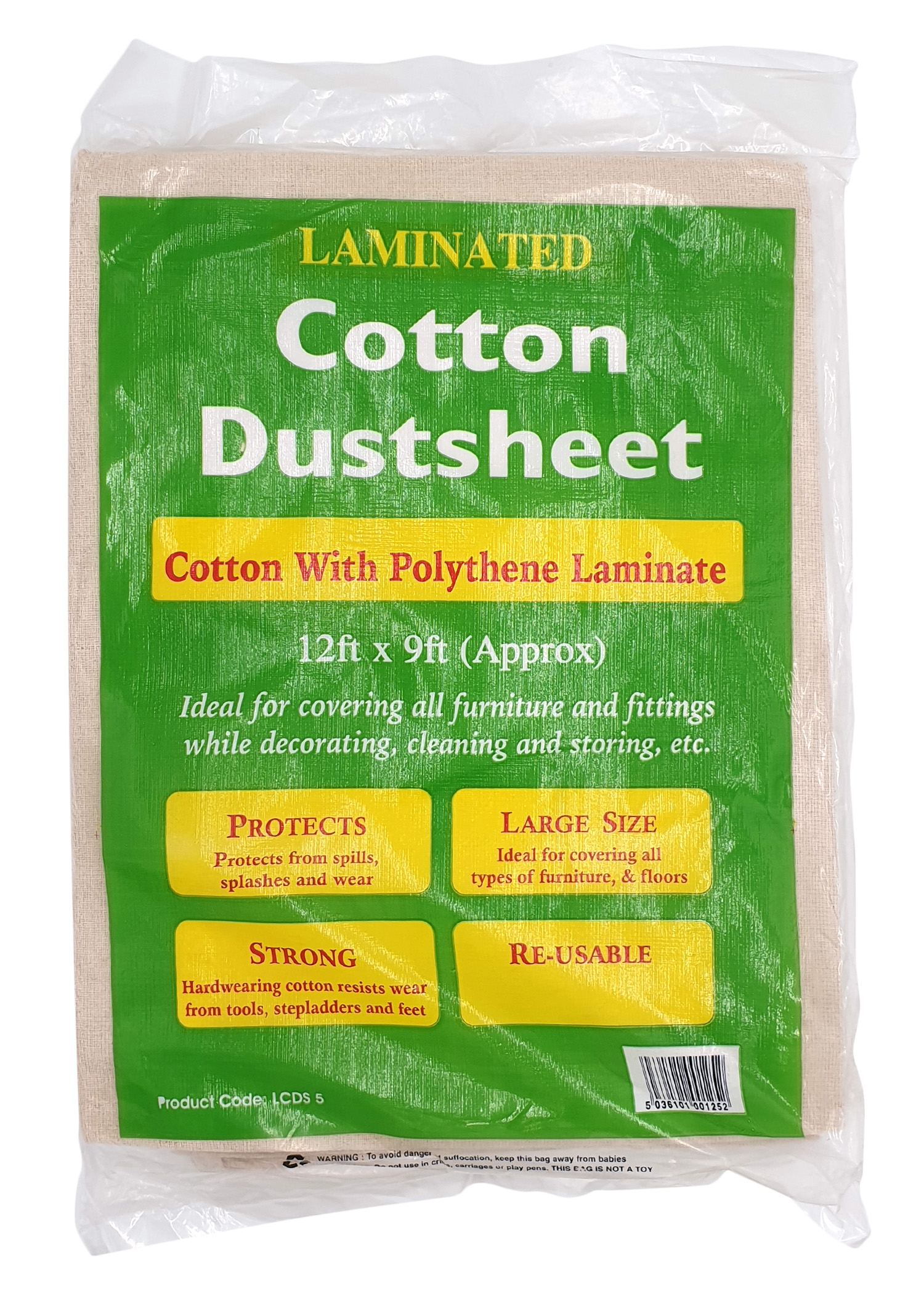 A folded beige cotton dustsheet wrapped in green Dosco packaging