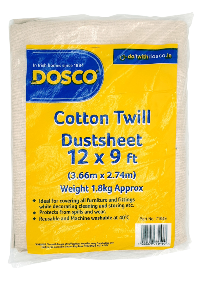 A folded beige cotton dustsheet wrapped in plastic displaying the Dosco blue & yellow logo