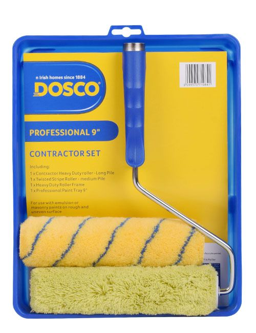A blue paint roller & tray with 1 green contractor sleeve & 1 yellow sleeve with blue stripes in Dosco blue & yellow packaging