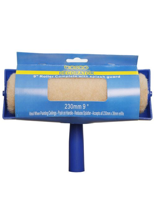 A long-pile paint roller sleeve covered with a blue splash guard in Dosco blue and yellow packaging