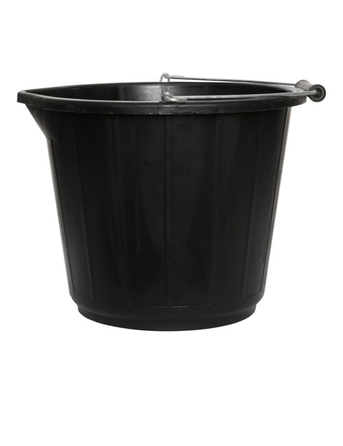 A sturdy black plastic bucket with metal handle and black plastic grip