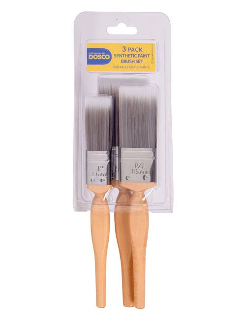 "Group of 3 wooden-handled paint brushes with grey synthetic bristles. 1"", 1 1/2"" and 2"" brushes included"